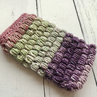 Crochet Mobile Phone Cozy Cover in Ombre Purple & Green Glittery Colours