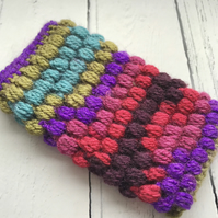 Crochet Mobile Phone Cozy Cover in  Rainbow Multi Colours
