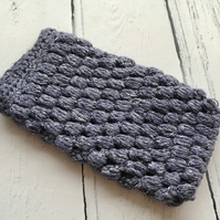 Crochet Mobile Phone Cozy Cover in  Deep Grey Lavender Glittery Colour