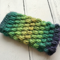 Crochet Mobile Phone Cozy Cover in Peacock Colours