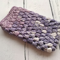 Crochet Mobile Phone Cozy Cover in Lavender & White Mix