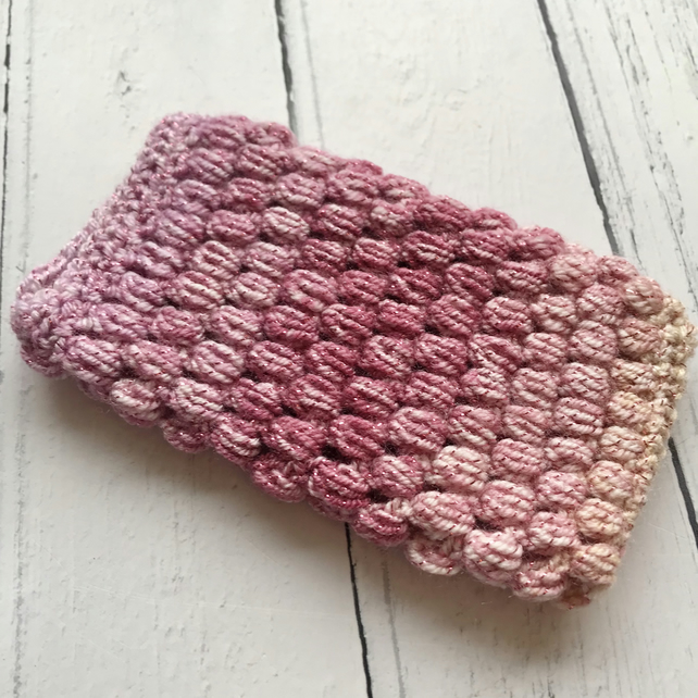 Crochet Mobile Phone Cozy Cover in Ombre Pink Glittery Colours