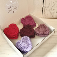 Box of 15 Handmade Crochet Love Heart appliques  Stylecraft Special DK 5 colours
