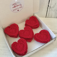 Box of 15 Handmade Crochet Love Heart appliques Stylecraft Special DK RED