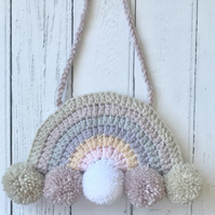Crochet  Rainbow Hanging Home Nursery Decoration Gender Neutral with Pompoms