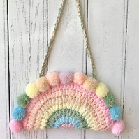 Crochet PASTEL Rainbow Hanging Decoration with Mini Pompoms