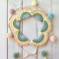 Crochet PASTEL Mini Rainbow Garland Bunting Decoration with Mini Pompoms