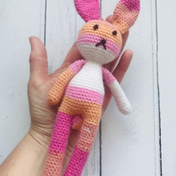 Small Crochet Rabbit Soft Toy with Pom Pom Tail in Shades of PINK