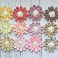 Box of 12 Handmade Crochet Daisy Flower Appliques PASTEL RAINBOW colours