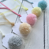 Box of 5 Pom Pom Small Gift Tags PASTEL RAINBOW colours