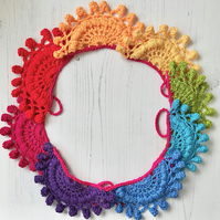 Crochet Lacey Rainbow Coloured  Garland Bunting Home Decoration Vintage Style