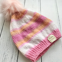 Girls Stripey Knitted Hat Age 4-6 years ( matching scarf & mittens available )