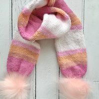 Girls Stripey Knitted Scarf Fluffy Pompoms( matching  hat available )