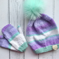 Childs Fluffy Pompom Beanie Hat & Mittens Set Vegan Friendly Green Purple White
