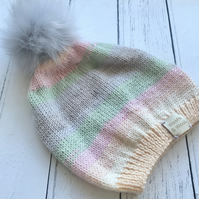 Girls Stripey Pastel Knitted Hat Age 4-6  ( matching scarf & mittens available )