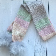 Girls Stripey Pastel Knitted Scarf Age 4-6  (matching hat & mittens available )