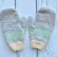 Girls Stripey Pastel Knitted Mittens Age 4-6  ( matching scarf & hat available )