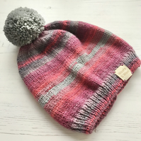 Childs Beanie Hat Age 7-9 with Grey Pompom (matching scarf available ) 20% Wool