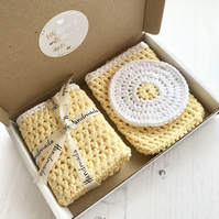 Wash Set - Face Pad Body Cloth & Soap Holder Crochet Organic Cotton Eco Friendly