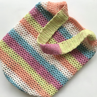 Eco Friendly Reusable Crochet Colourful Bright Cotton Mix Beach Market Tote Bag
