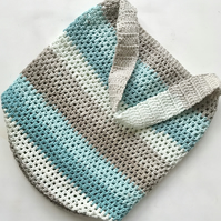 Eco Friendly Reusable Crochet Colourful Blue Striped Cotton Mix Beach Market Bag