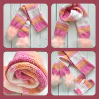 Girls Stripey Knitted Scarf Fluffy Pompoms( matching Mittens & hat available )
