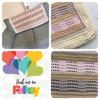 Crochet Mesh Blanket in Pastel Gender Neutral Colours with Lacey Edging OOAK