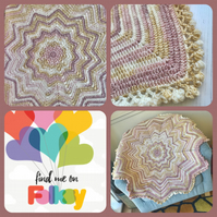 Crochet 12 pointed Star Blanket in VINTAGE PASTEL Colours with Pom Pom Edging