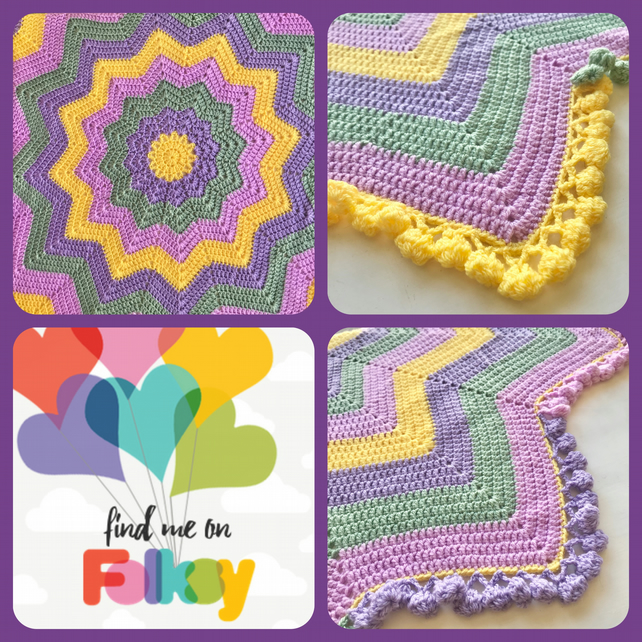 Crochet 12 pointed Star Blanket in PINK GREEN YELLOW LILAC with Pom Pom Edging