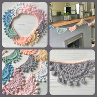 Crochet Lacey Pastel Rainbow Coloured Garland Bunting Decoration Vintage Style