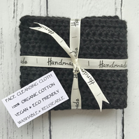 Face & Body Cleansing Crochet Cloth Flannel Organic Cotton Eco Friendly BLACK