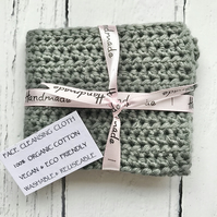 Face & Body Cleansing Crochet Cloth Flannel Organic Cotton Eco Friendly MID GREY