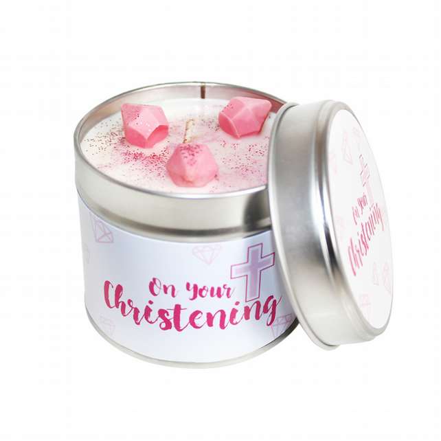 On Your Christening Scented Soya Wax Candle - Pink