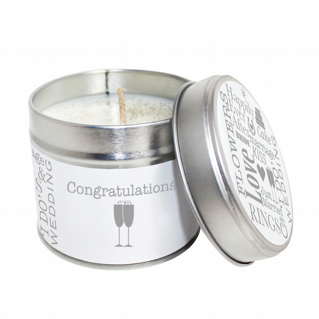 Congratulations Scented Soya Wax Candle Tin