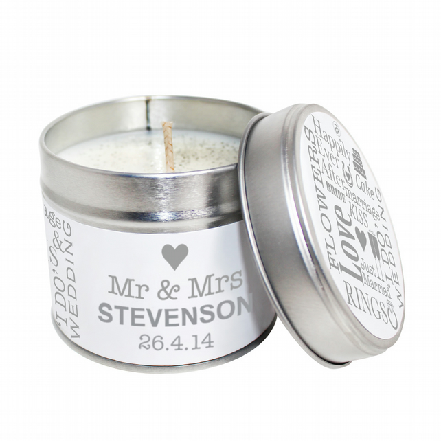 Mr & Mrs Personalised Scented Soya Wax Candle Tin