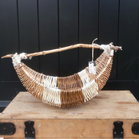 Willow, jute, cane, driftwood handle basket