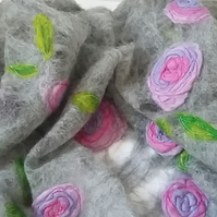 Grey Merino Fibre Felted Rose Scarf