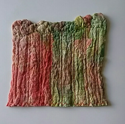 Hand dyed cheesecloth felted Textile Art