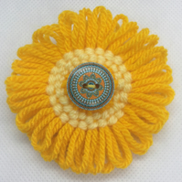 Knitted Flower and Button Brooch - Orange & Yellow