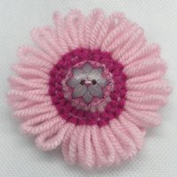 Knitted Flower and Button Brooch - Pink