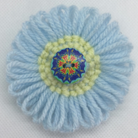 Knitted Flower and Button Brooch - Blue & Yellow