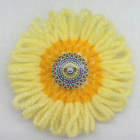 Knitted Flower and Button Brooch - Yellow & Orange