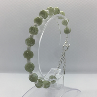 Marble Effect Green and Silver Bead Bracelet