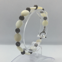 Mother Of Pearl and Filigree Bead Bracelet