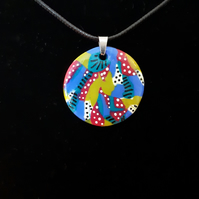 Abstract dots & stripes pendent - Polymer clay