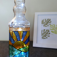 Sunset, Sunrise - stained glass effect hand painted bottle with lights