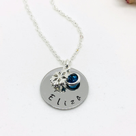 Silver Personalised Name, Birthstone, Frozen Snowflake Charm Necklace