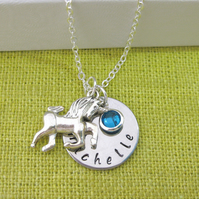 Silver Personalised Name, Birthstone, Unicorn Charm Necklace