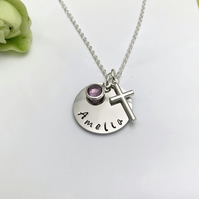 Silver Personalised Name, Birthstone, Cross Charm Necklace