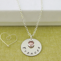 Silver Personalised Name and Birthstone Charm Necklace